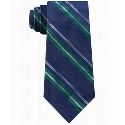 Tommy Hilfiger Men's Classic Textured Stripe Tie Green Size Regular