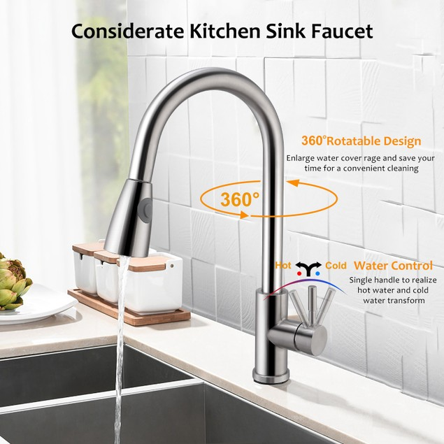 Brushed Nickel Stainless Steel Kitchen Faucets Single Handle