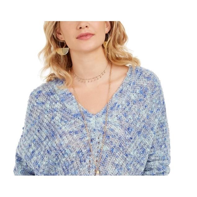 Style & Co Women's V-Neck Dolman-Sleeve Sweater Blue Size Small