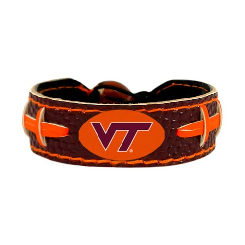Virginia Tech Hokies Team Color NCAA Gamewear Leather Football Bracelet