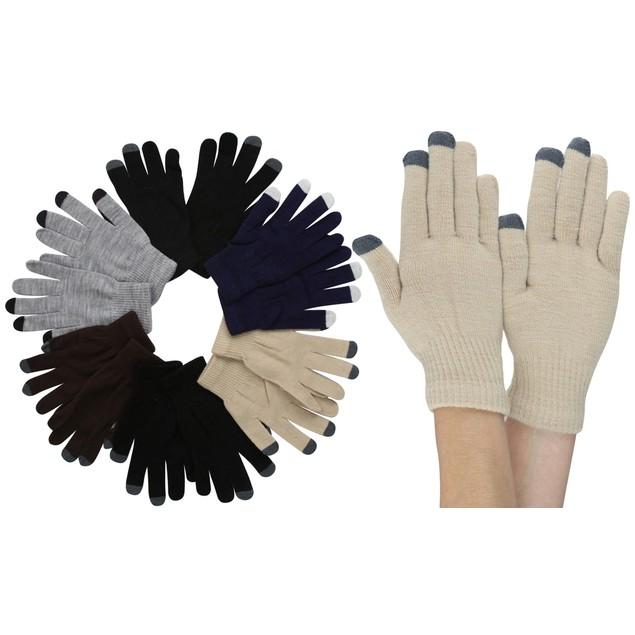 (6 Pack) Men's Plain Acrylic Magic Gloves w/ Contrast Tips
