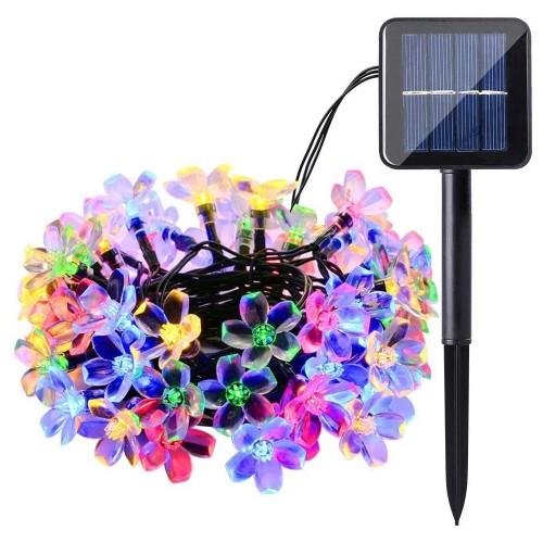 50 LED Solar String Lights 22Ft Sakura Flower Outdoor Waterproof Garden