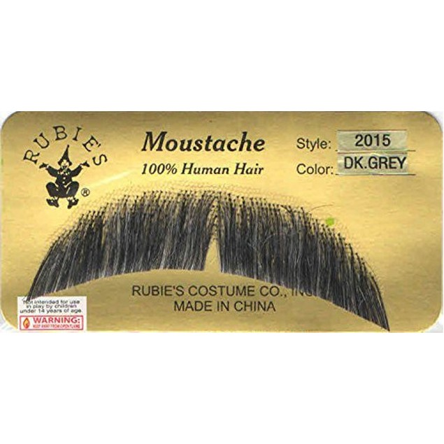 Grey Basic Character Moustache 100% Human Hair Costume Accessory Adult