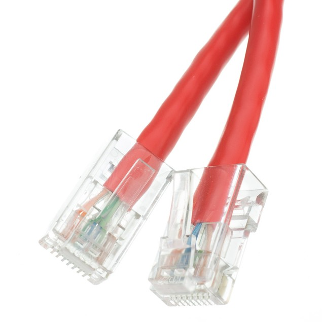 Cat6 Red Ethernet Patch Cable, Bootless, 50 foot