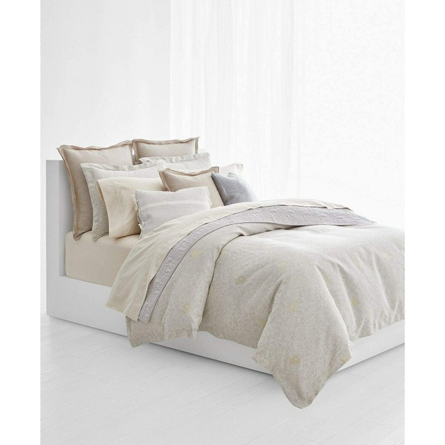 """Ralph Lauren Alene Cotton Floral Quilted 92"""" x 108"""" King Coverlet, Grey"""