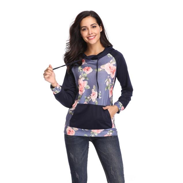 Floral Printed Sleeve Hoodie - Color Options
