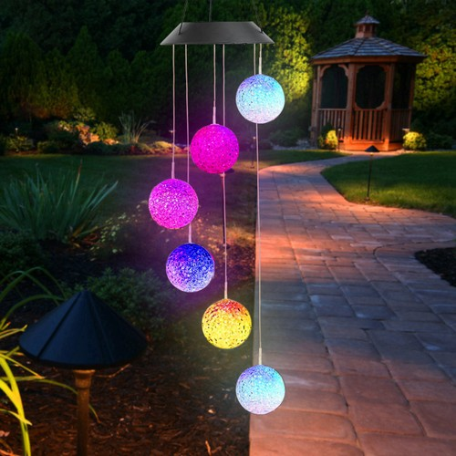 Colorful Solar Powered LED Ball Wind Chimes Decorative Lamps
