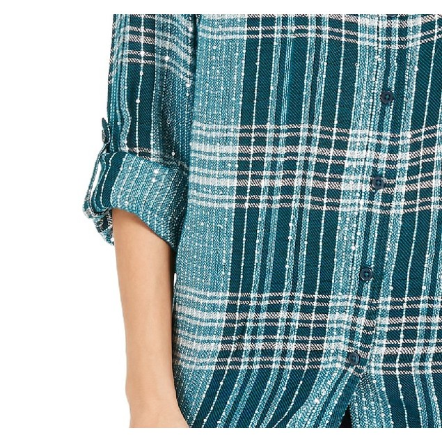 Style & Co Women's Sparkle Plaid Shirt Green Size Extra Large