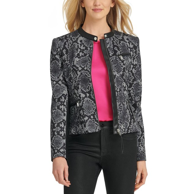 DKNY Women's Snake-Embossed Faux-Leather-Trim Jacket Gray Size 8