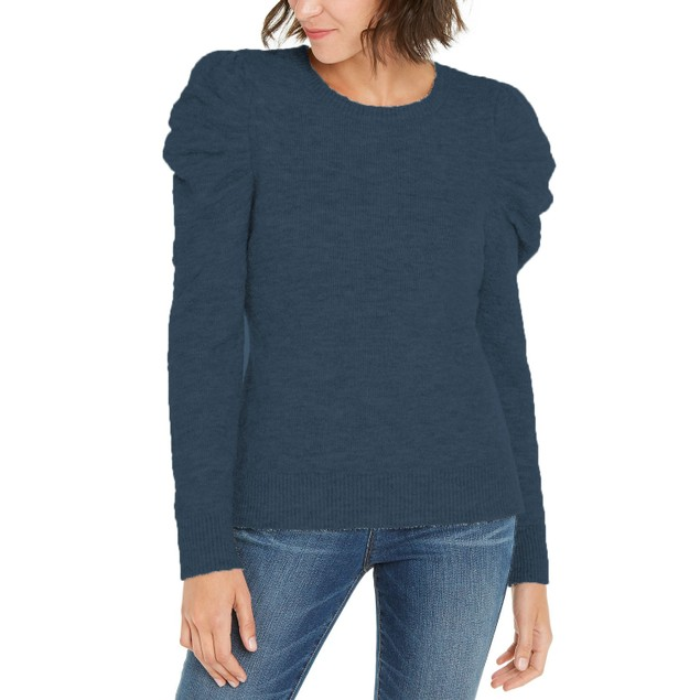 INC International Concepts Women's Puff-Sleeve Sweater Navy Size X-Large