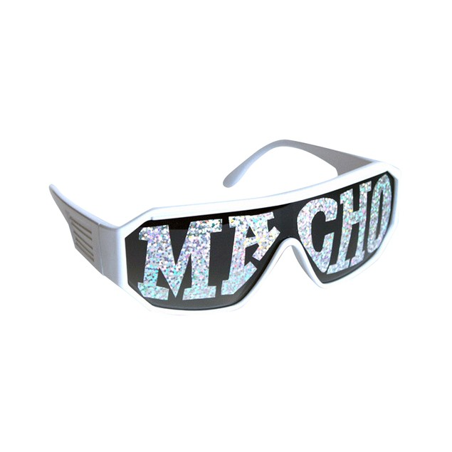 Macho Wrestler Sunglasses Silver Macho on Black Lens with White Frame