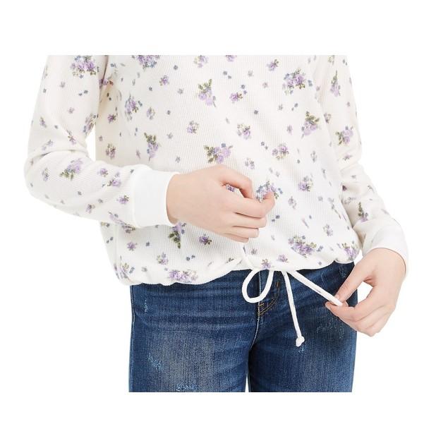 Ultra Flirt Juniors' Striped Drawstring-Hem Thermal Top White Size Large