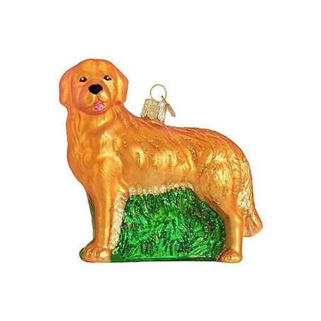 Golden Retriever Glass Christmas Tree Ornament