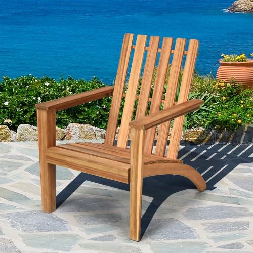 Costway Patio Acacia Wood Adirondack Chair Lounge Armchair Durable Outdoor