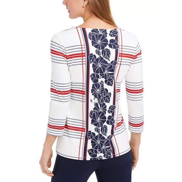 Charter Club Women's Mixed-Print V-Neck Tunic White Size Medium