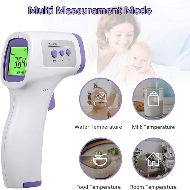 2Pack: Forehead Thermometer LCD Screen IR Digital Non-Contact Infrared