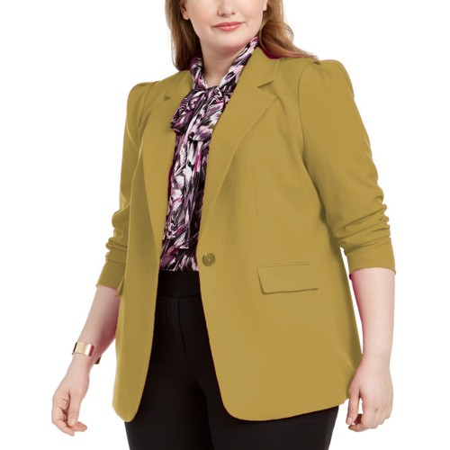 Bar III Women's Trendy One-Button Blazer Yellow Size 6