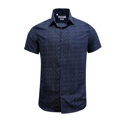 Monza Modern Fit Short Sleeve Navy Floral Dress Shirt