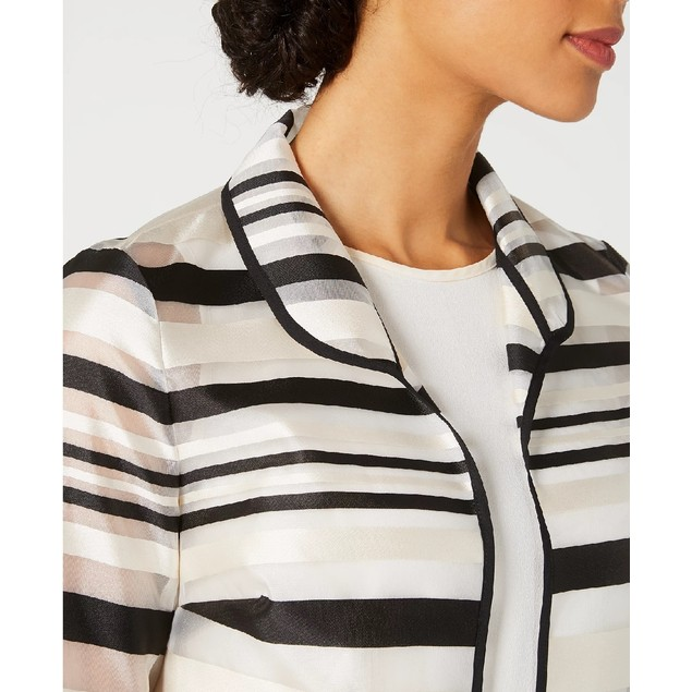 Kasper Women's Petite Shadow-Stripe Jacket Black Size 1