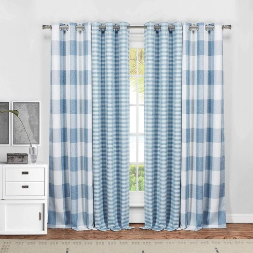 Heavy Plaid and Striped Blackout Grommet Window Curtain Panels - Set of 4