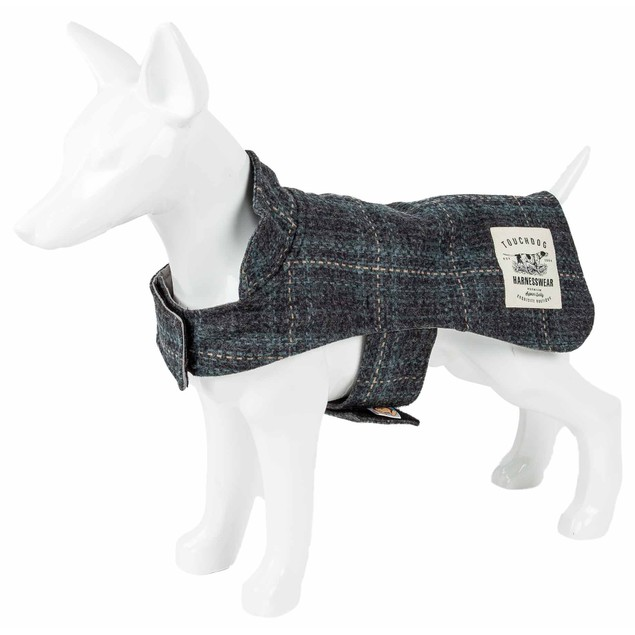 Touchdog 2-In-1 Windowpane Plaided Dog Jacket With Matching Reversible Mat