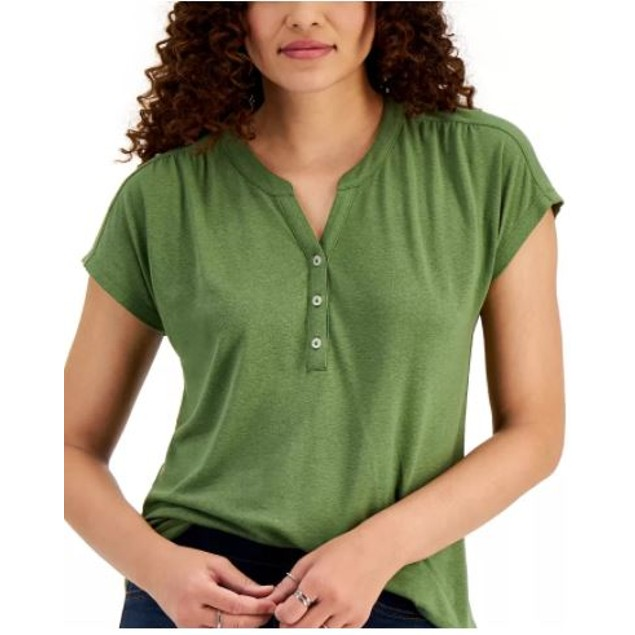 Style & Co Women's Dolman Sleeve Henley Linen Blend Top Green Size Small