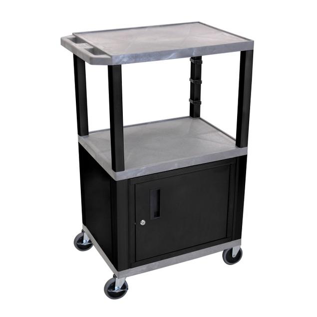 "Luxor 42"" Three Shelves AV Electric Cart with Cabinet - Black Legs, Gray"
