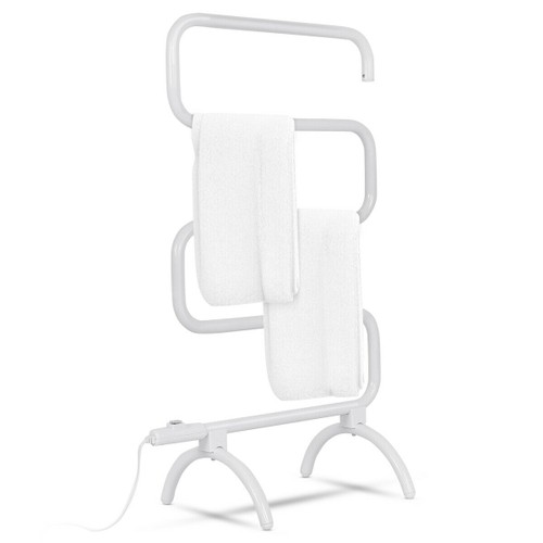 Costway 100W Electric Towel Warmer Drying Rack Freestanding and Wall Mounte