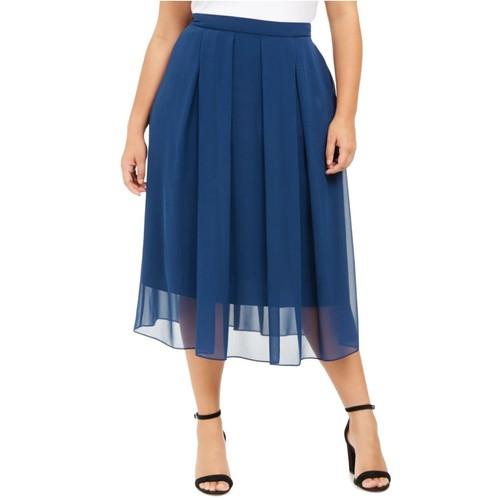 Anne Klein Women's Plus Size Pleated Midi Skirt Dark Blue Size 2X
