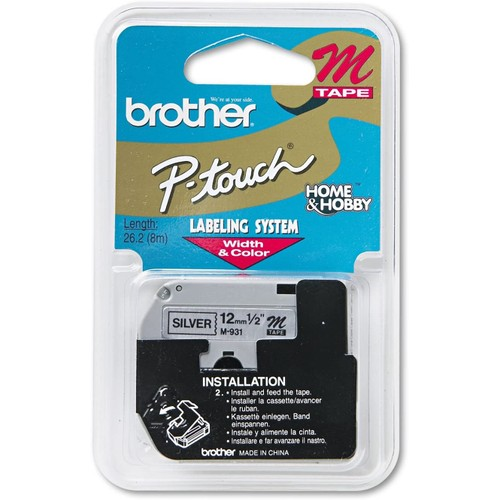 Brothers Brother P-Touch M931 - M Series Tape Cartridge for P-Touch Labelers, 1/2w, Black on Silver-BRTM931