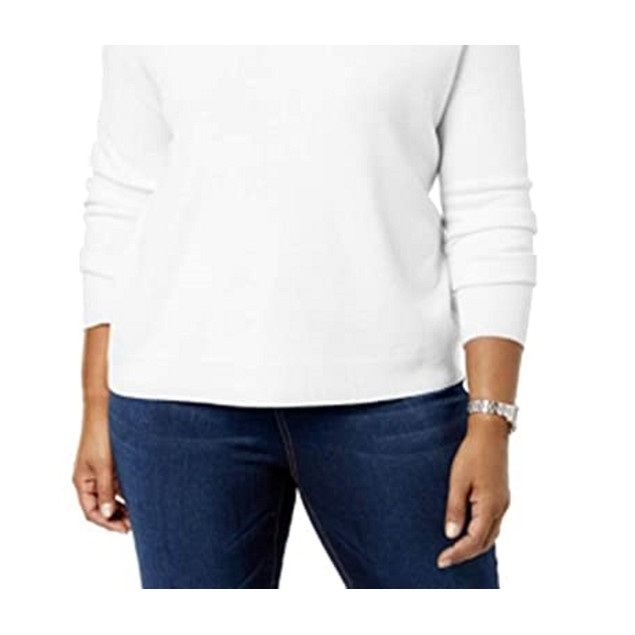 Karen Scott Women's Plus Size Turtleneck Luxsoft Sweater White Size 1X