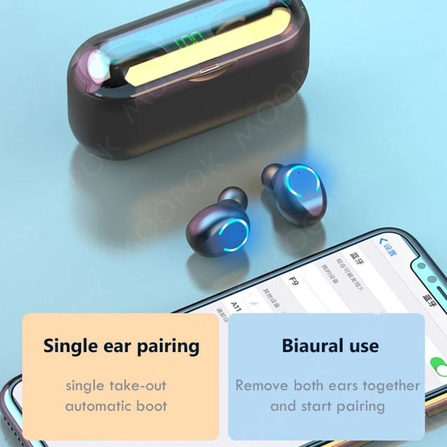 C Light Touch Binaural Digital Display Bluetooth Headset