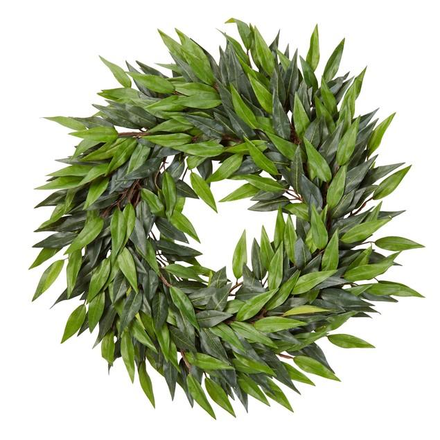 18-Inch Artificial Ficus Microphylla Leaf Wreath Faux Greenery