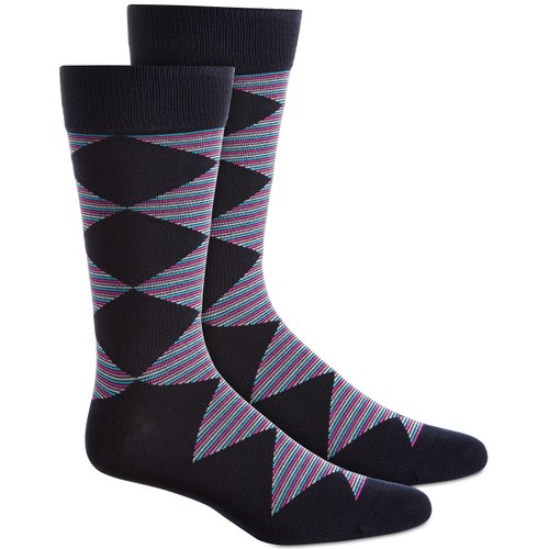 Alfani Men's Diamond Striped Socks  Blue Size Regular