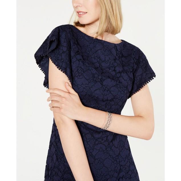 Vince Camuto Women's Lace Flounce-Hem Dress Blue Size 14