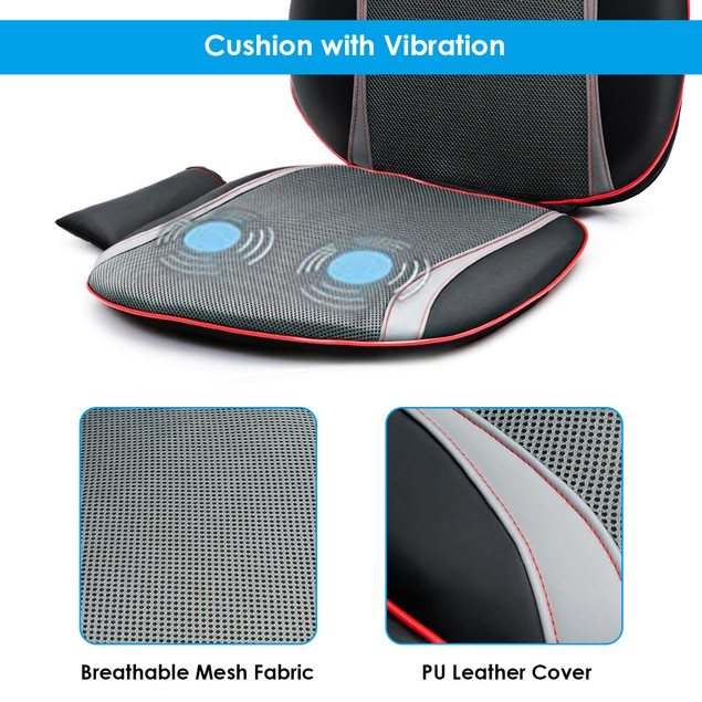 Shiatsu Neck Back Massage Seat Cushion w/ Hip Vibration & Heating Function