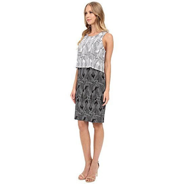 Vince Camuto Women's Sleeveless Graphic Strip Fan Popover Dress SIZE M