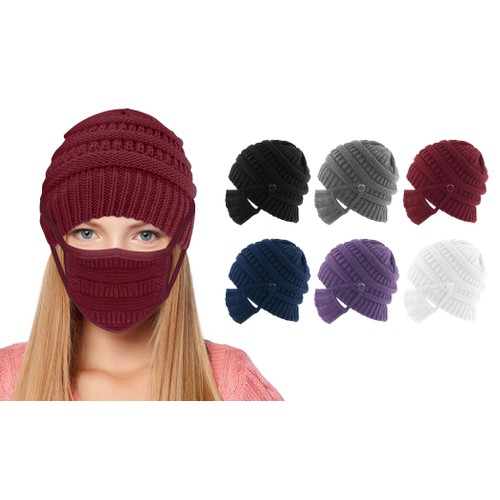 Knitted Winter Beanie Hat and Mask Set (Available in 5 Colors)