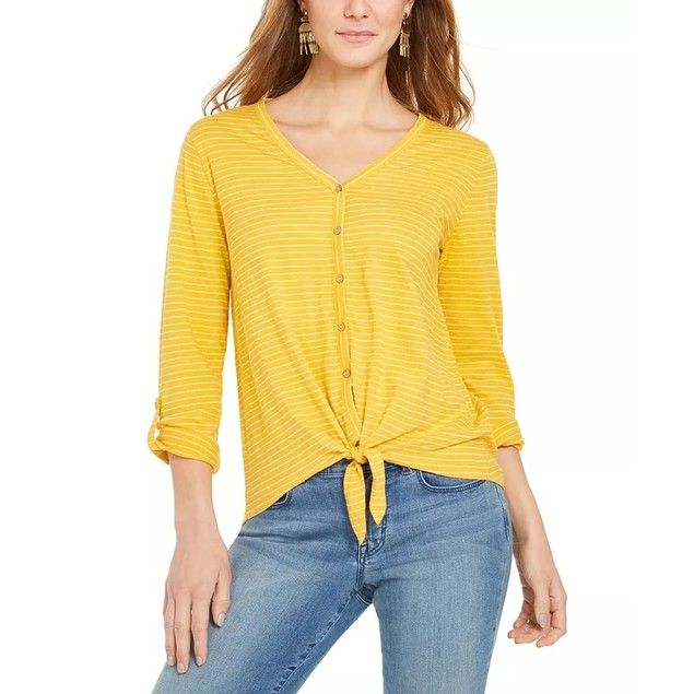 Style & Co Women's Striped Tie-Front Top Gold Size XX Large
