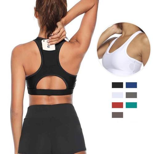 Female Fitness Beauty Back Plug Phone Yoga Bra