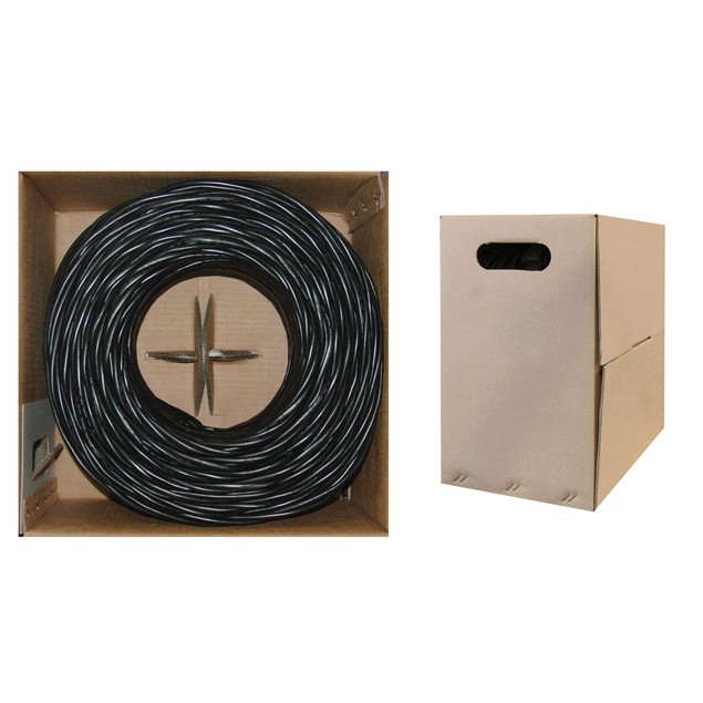 Bulk Shielded Cat5e Black Ethernet Cable, 1000 foot