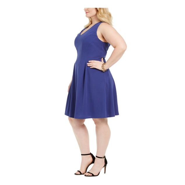Teeze Me Juniors' Sleeveless Fit & Flare Dress Navy Size 16