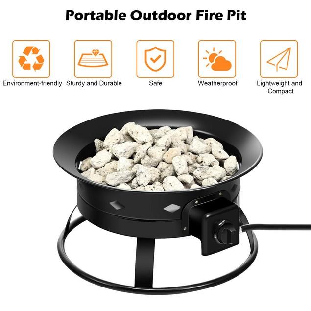 Costway Portable Fire Pit Outdoor 58,000 BTU Propane Patio Lava Rocks Campi