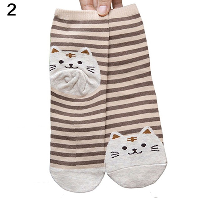 Striped Cat Cotton Socks