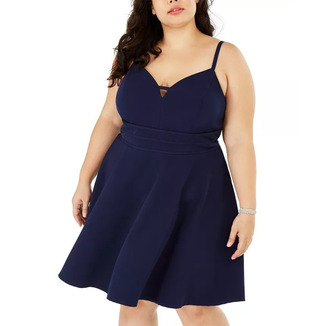 City Studios Women's Plus Size Trendy Sweetheart Dress Navy Size 20W