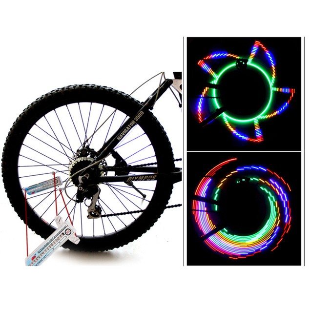 Colorful Rainbow 32 LED Wheel Signal Lights for Cycling Bicycles Outdoor