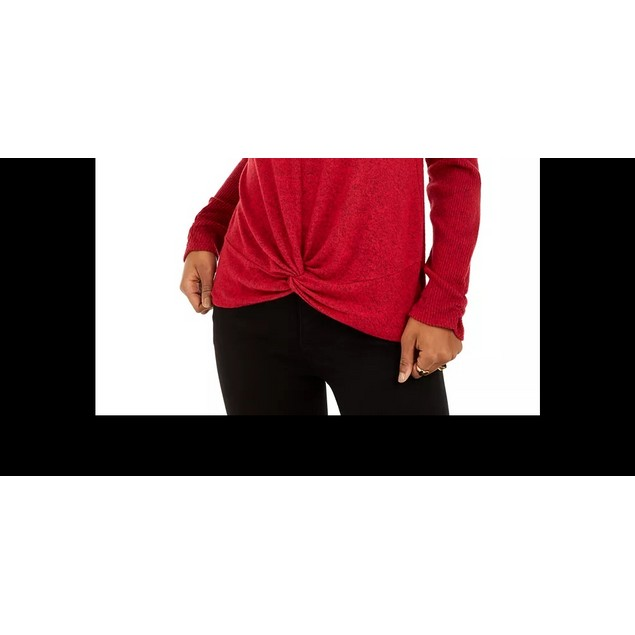 BCX Junior's Textured Cowlneck Twist Front Sweater Red Size X-Small