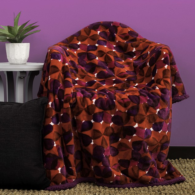Floral Ultra Plush & Soft Fleece Sherpa Throw Blanket by KENSIE