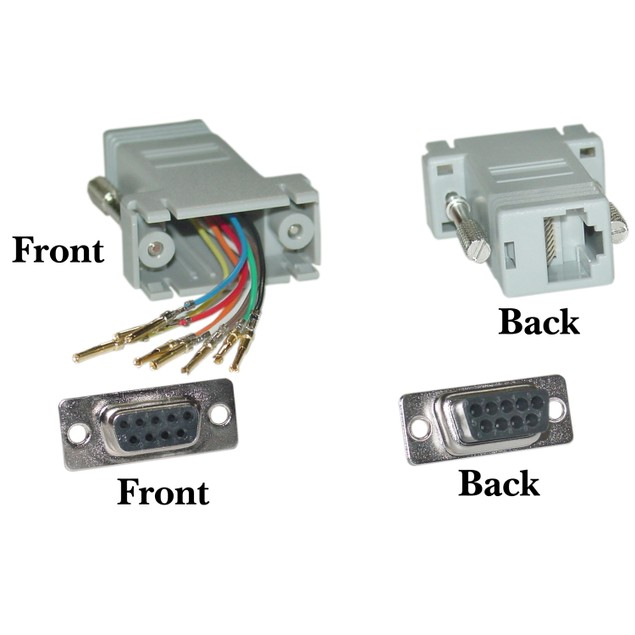 Modular Adapter, Gray, DB9 Female to RJ45 Jack
