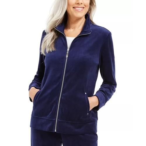 Karen Scott Women's Sport Velour Zip Jacket Black Size Small